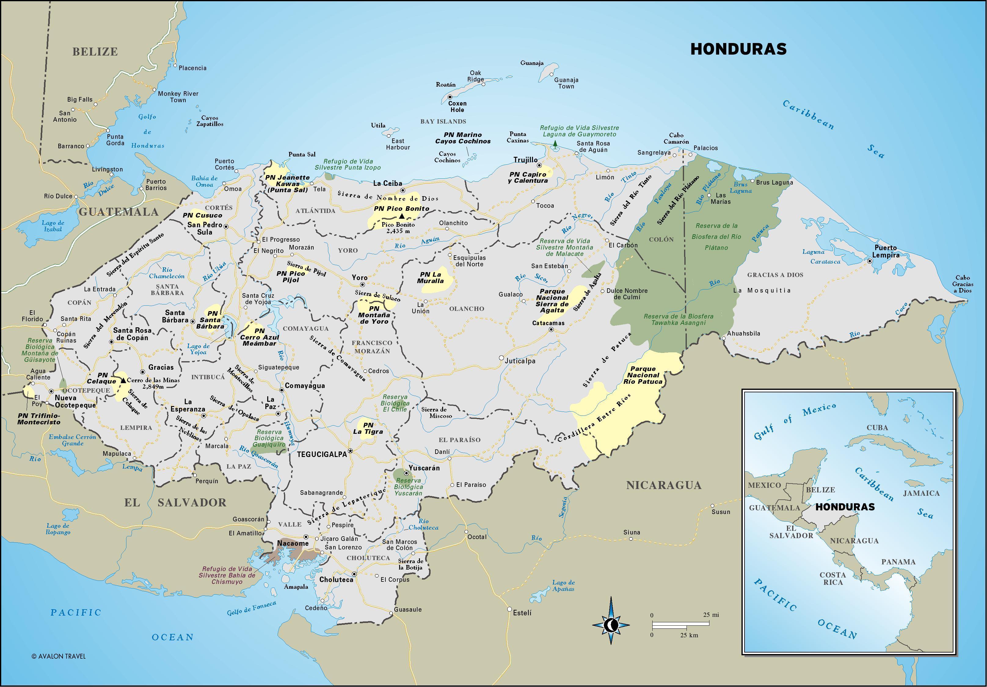 Honduras Landkarte Eine Karte Von Honduras Mittelamerika