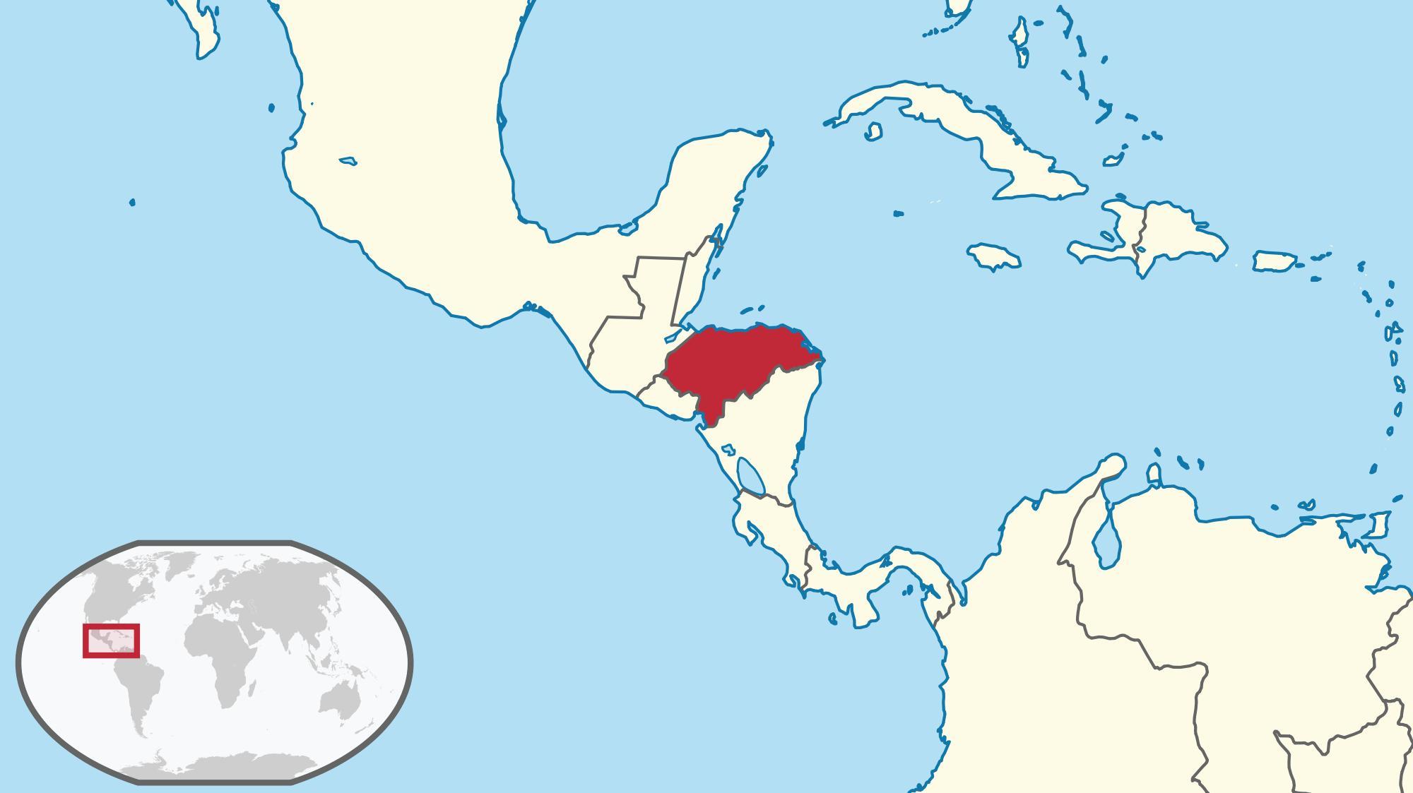 Honduras world map - Honduras Lage auf der Weltkarte (Mittelamerika ...
